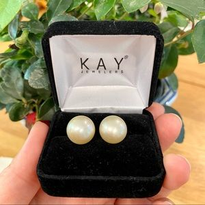 Jewelry - 13-14mm South Sea champagne pearl stud earrings.